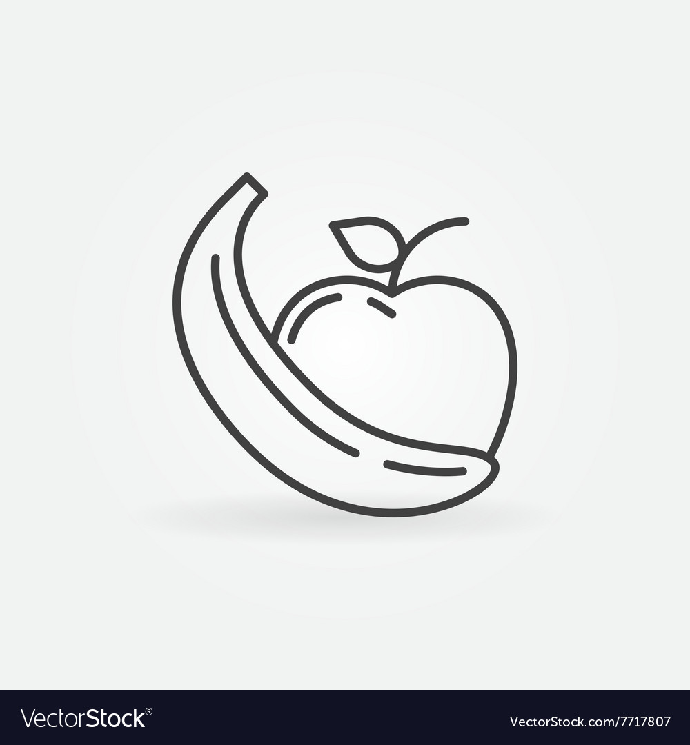 Apple and banana icon vector image