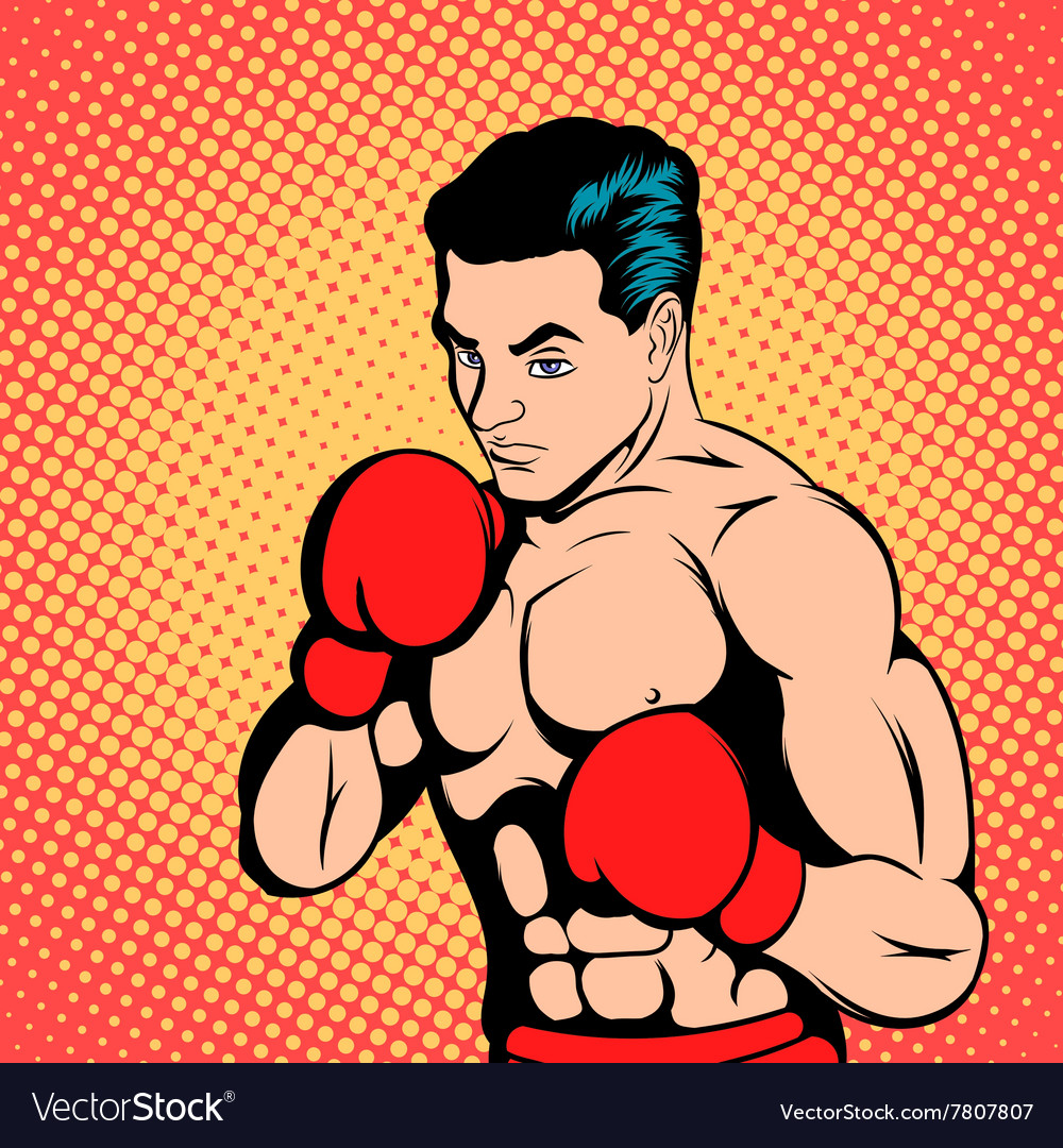 Boxer concept comics style Royalty Free Vector Image