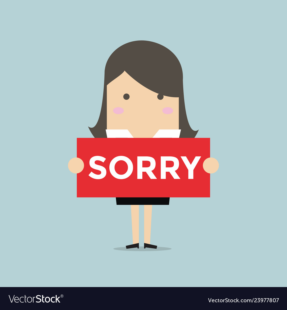 Businesswoman hands holding sorry sign