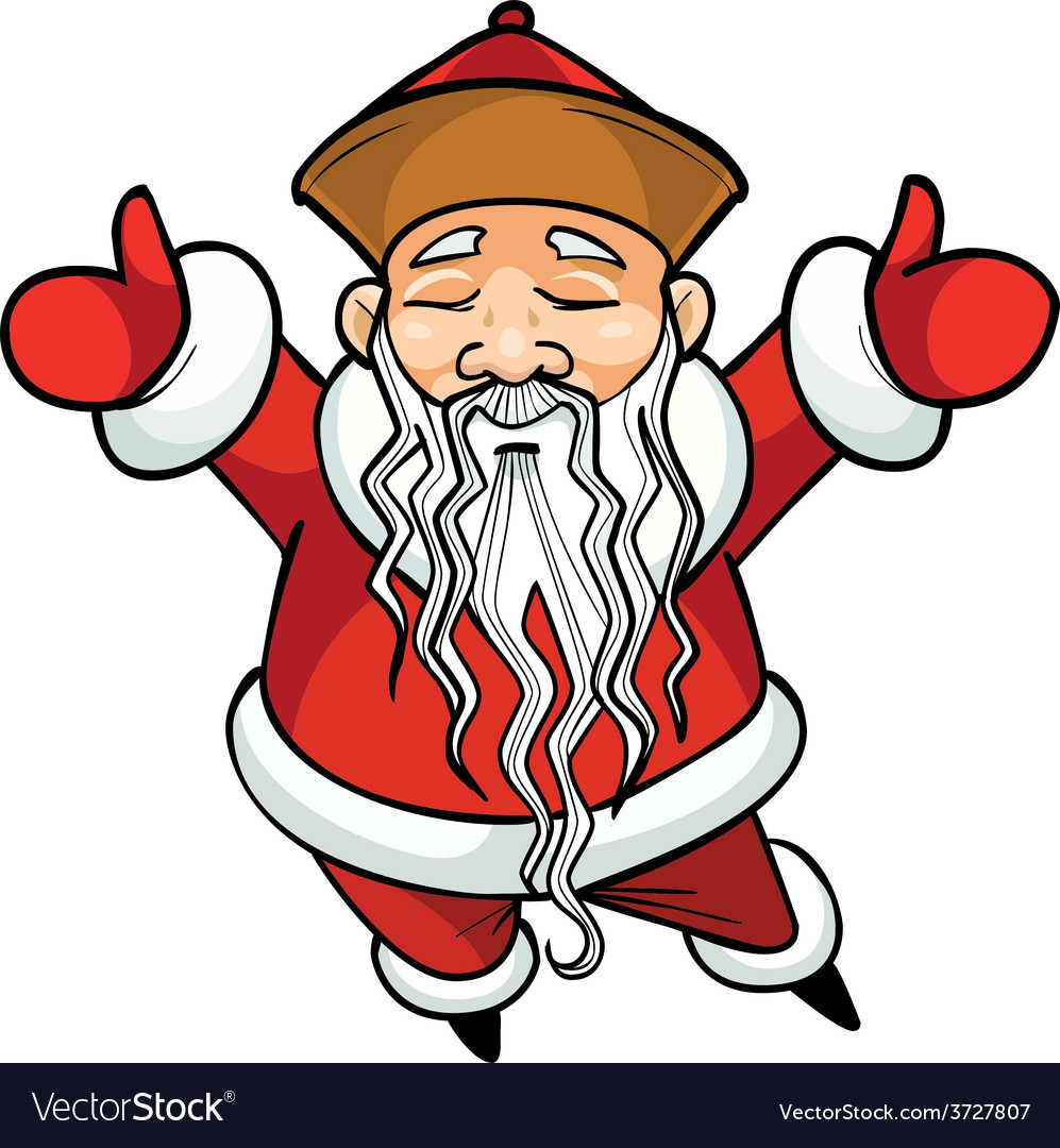 Cartoon Chinese Santa Claus standing with his arms vector image