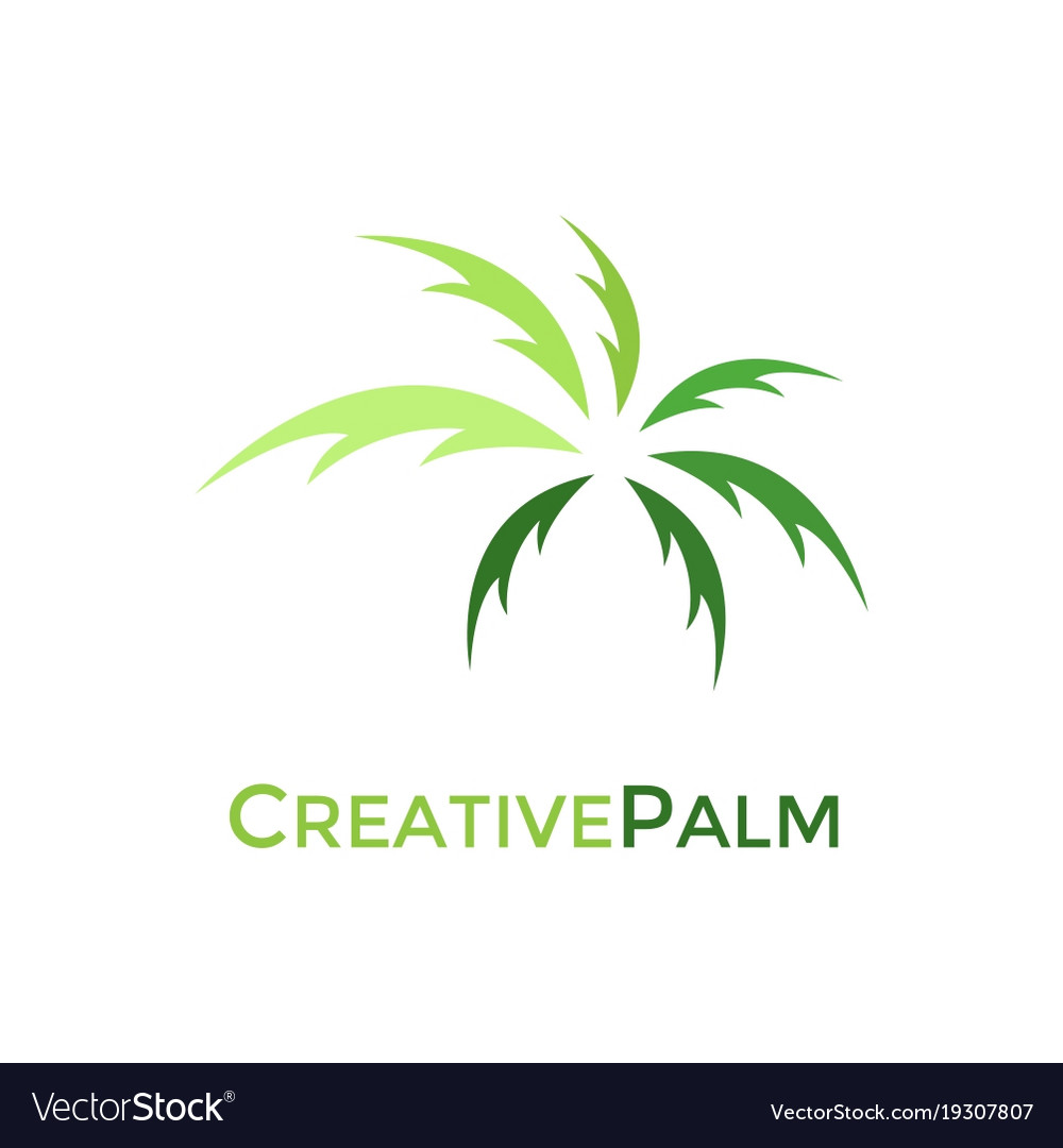 Creative green palm logo design