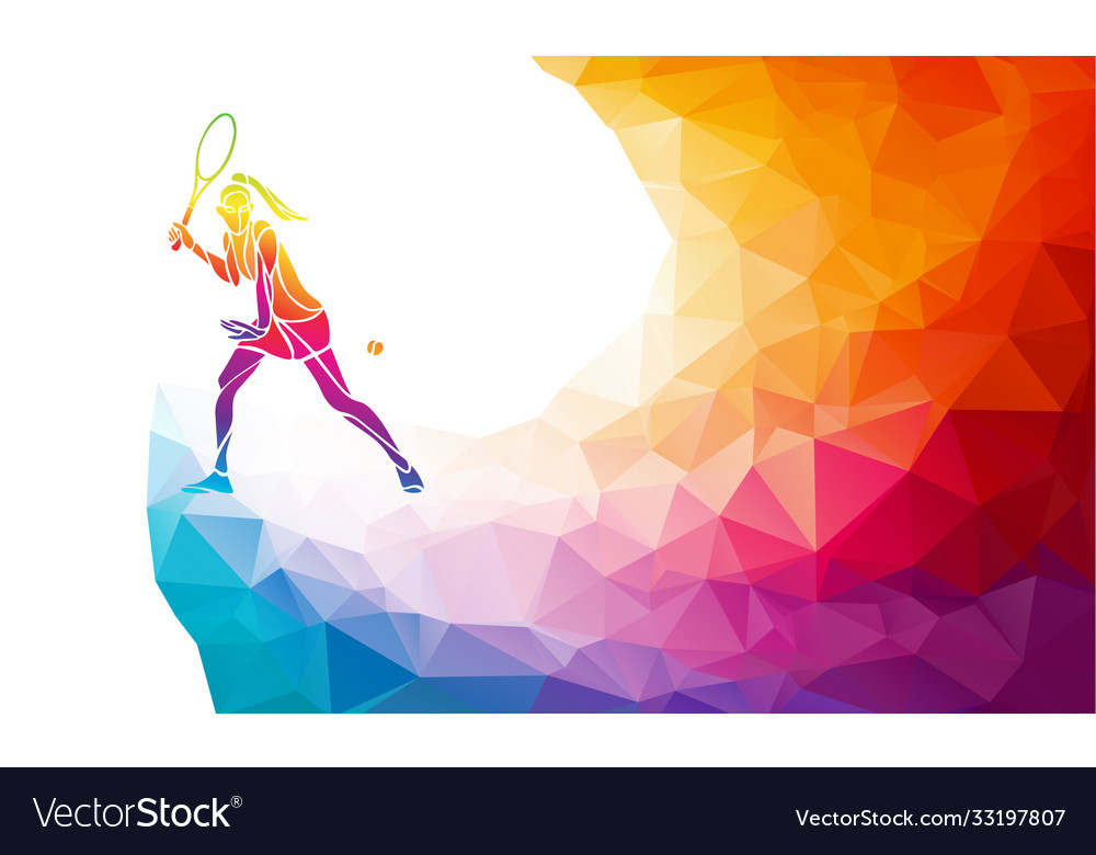 Creative silhouette female tennis player