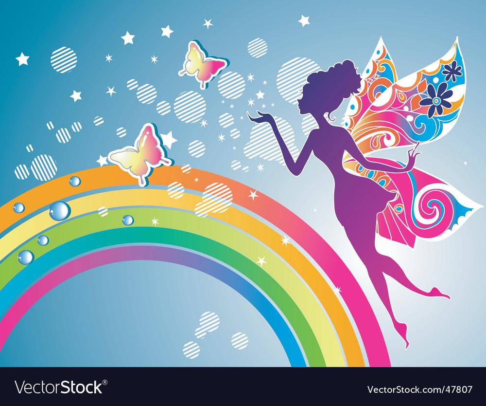 Fairy rainbow graphic vector image