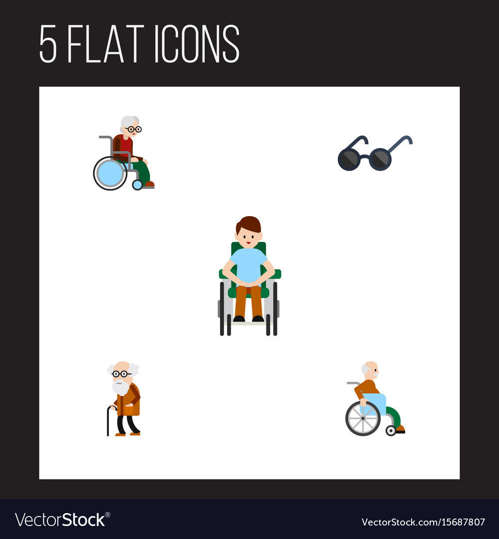 Flat icon disabled set of handicapped man