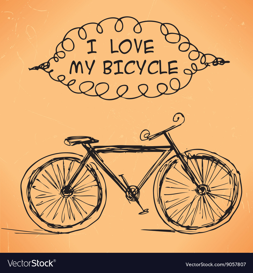 Hand-drawn bicycle on grungy background