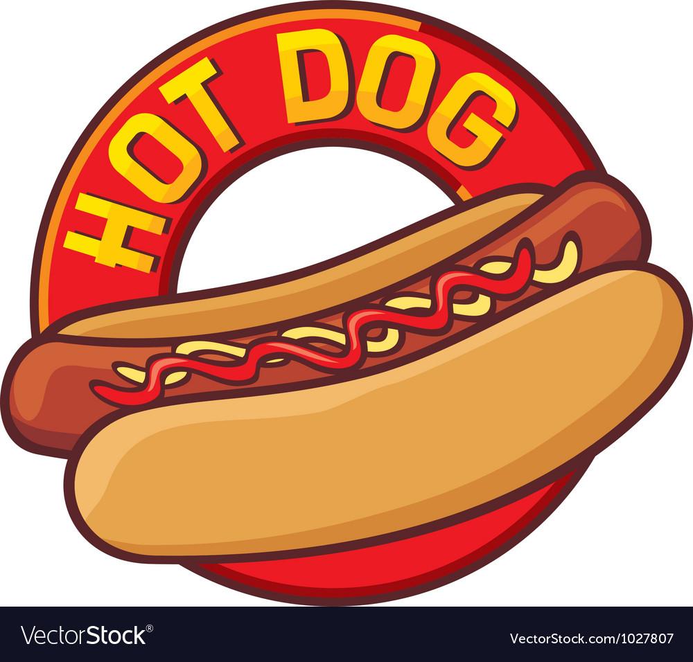 Hot dog label vector image