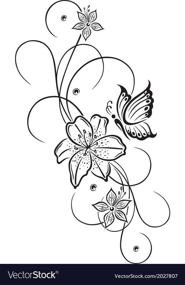 2b9b83813 Lily butterfly Royalty Free Vector Image - VectorStock