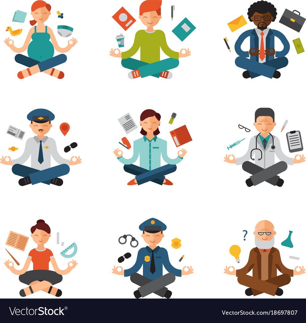 Meditation yoga people relax procedure vector image