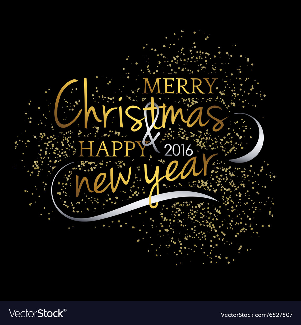 Merry Christmas Festive black background with gold