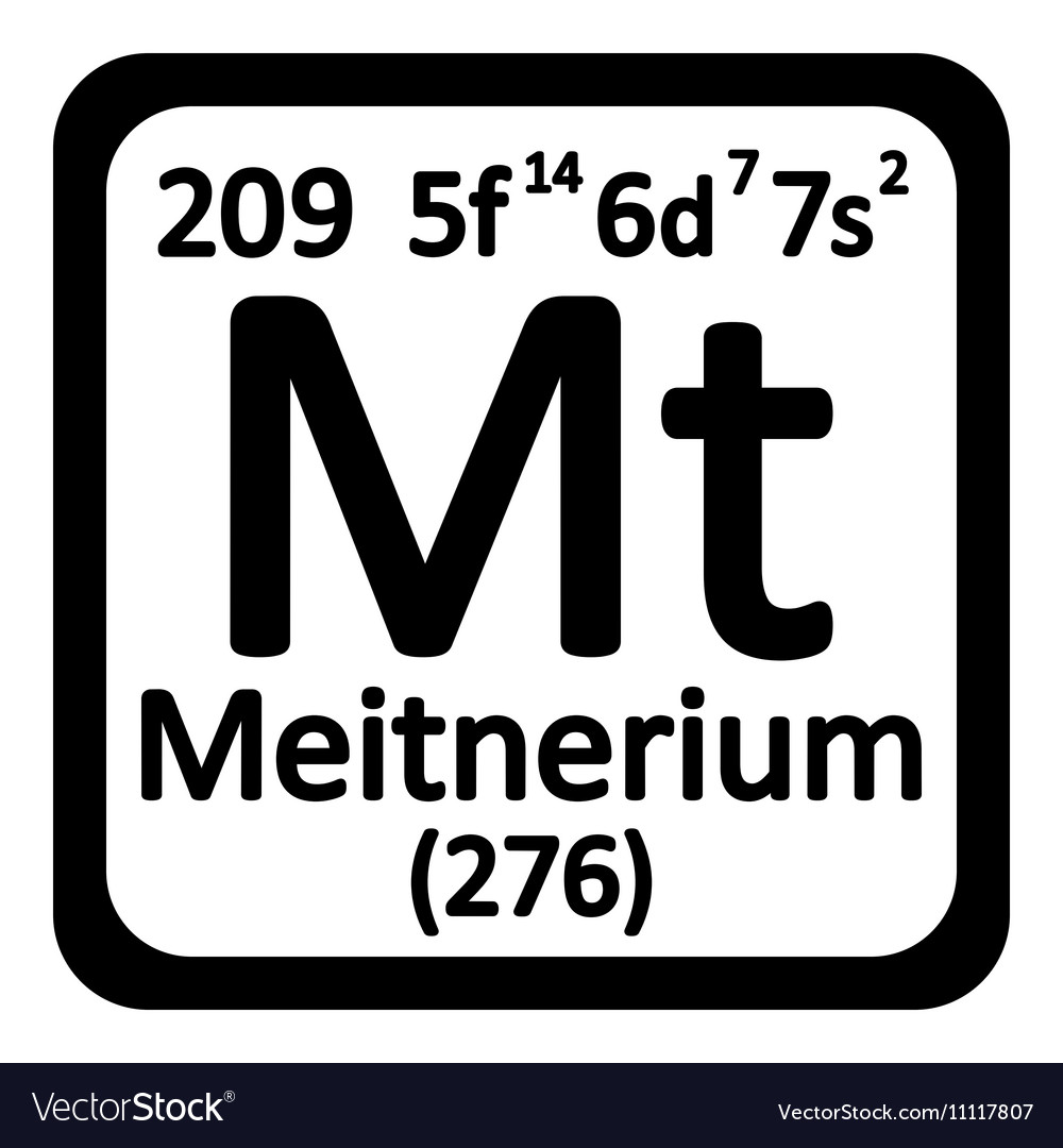 Periodic Table Element Meitnerium Icon Vector Image On Vectorstock