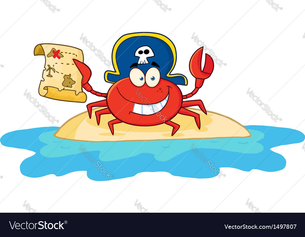 Pirate Crab Holding A Treasure Map On Island vector image