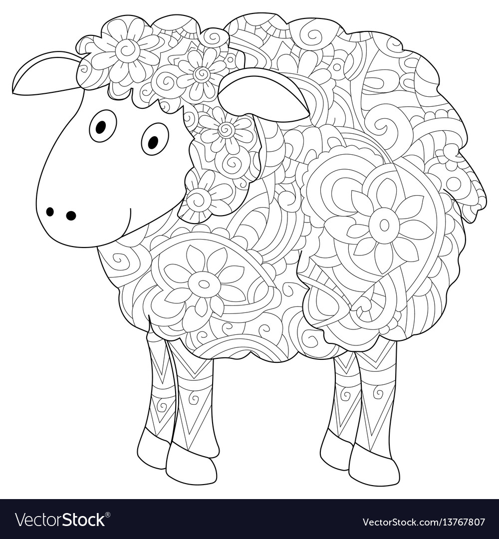 Ram coloring book for adults vector image