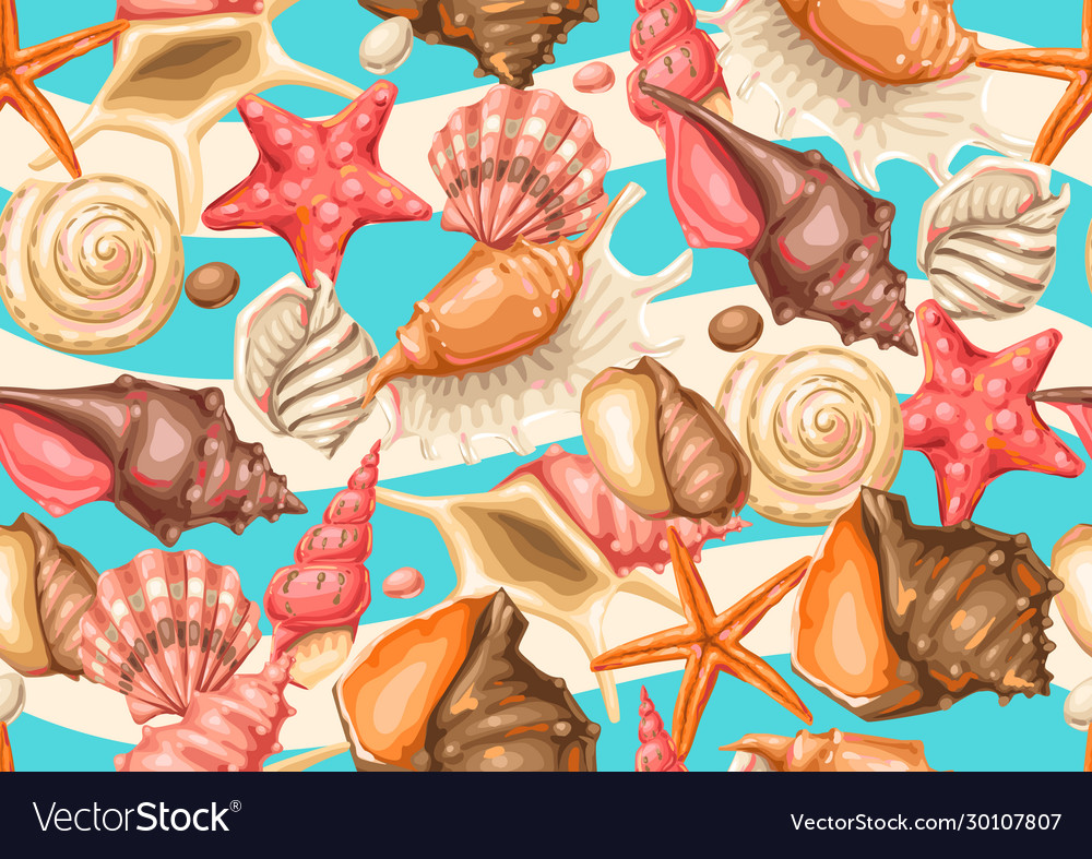 Seamless pattern with seashells tropical