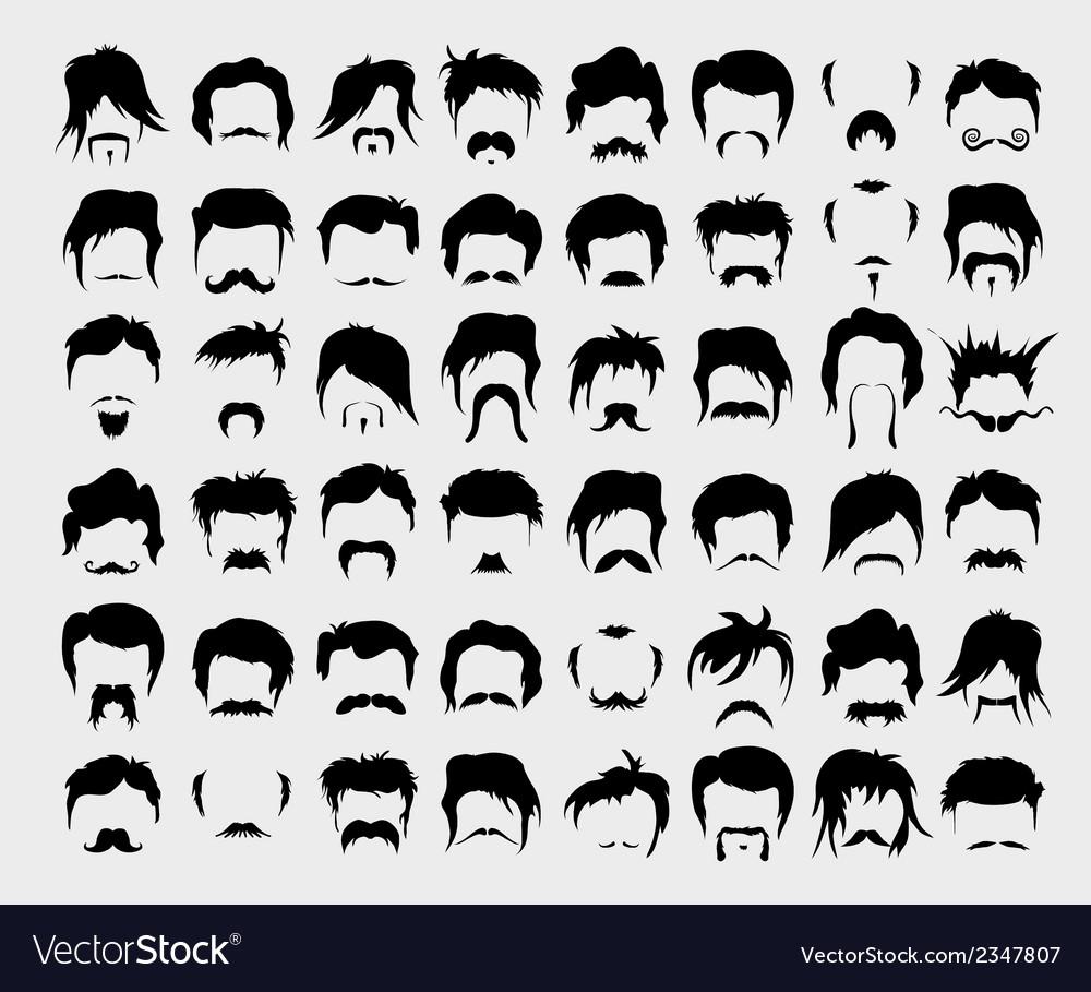 Set hair mustache beard vector image