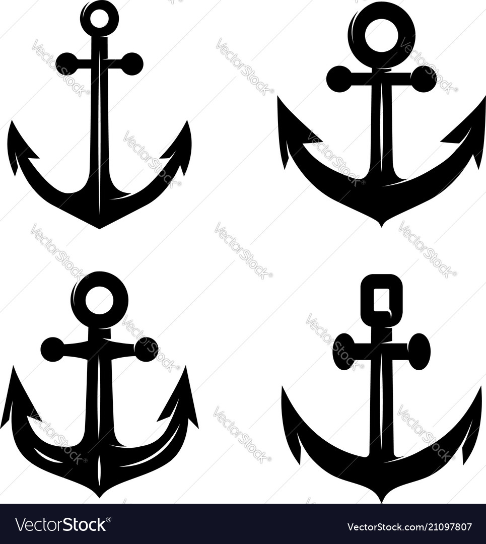 Set of icons of the anchor isolated on white