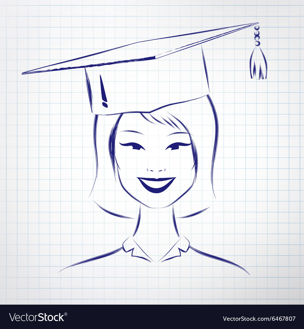 Student girl wearing graduation hat