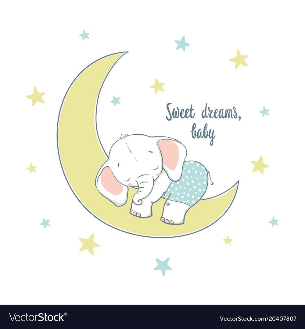 Sweet dreams a little elephant sleep on moon
