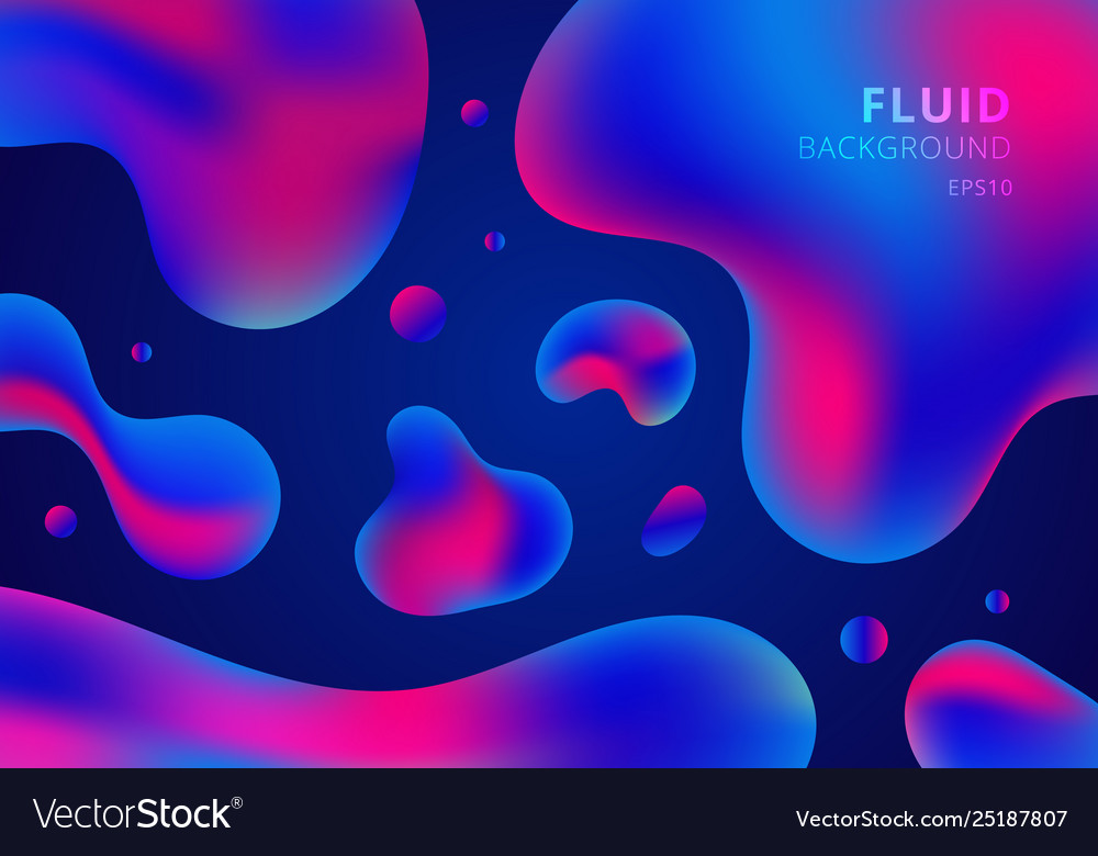 Trendy fluid shapes composition colorful blue and