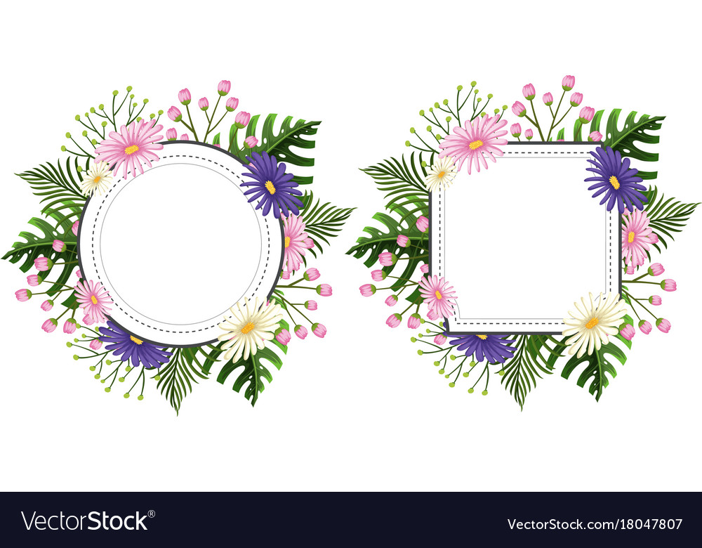 Two Flower Frames With Pink And Purple Flowers Vector Image