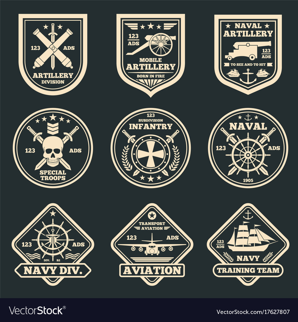 Vintage military and army emblems badges