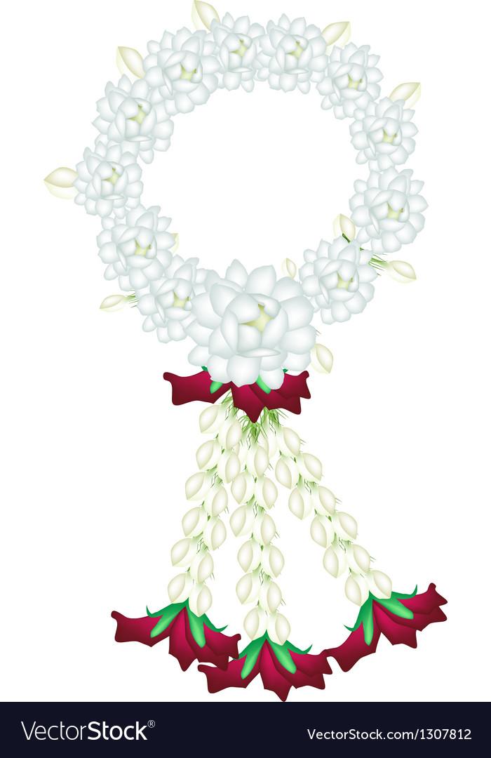 A fresh white colors of jasmine flowers garland vector image mightylinksfo