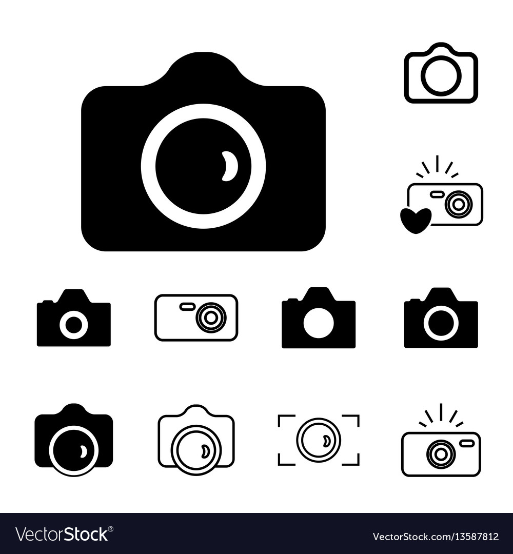 Camera icons isolated or snapshot photography vector image