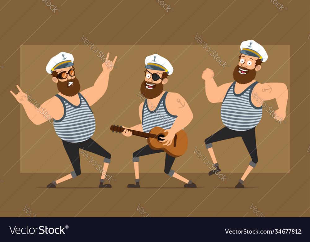 Cartoon flat fat sailor man character set