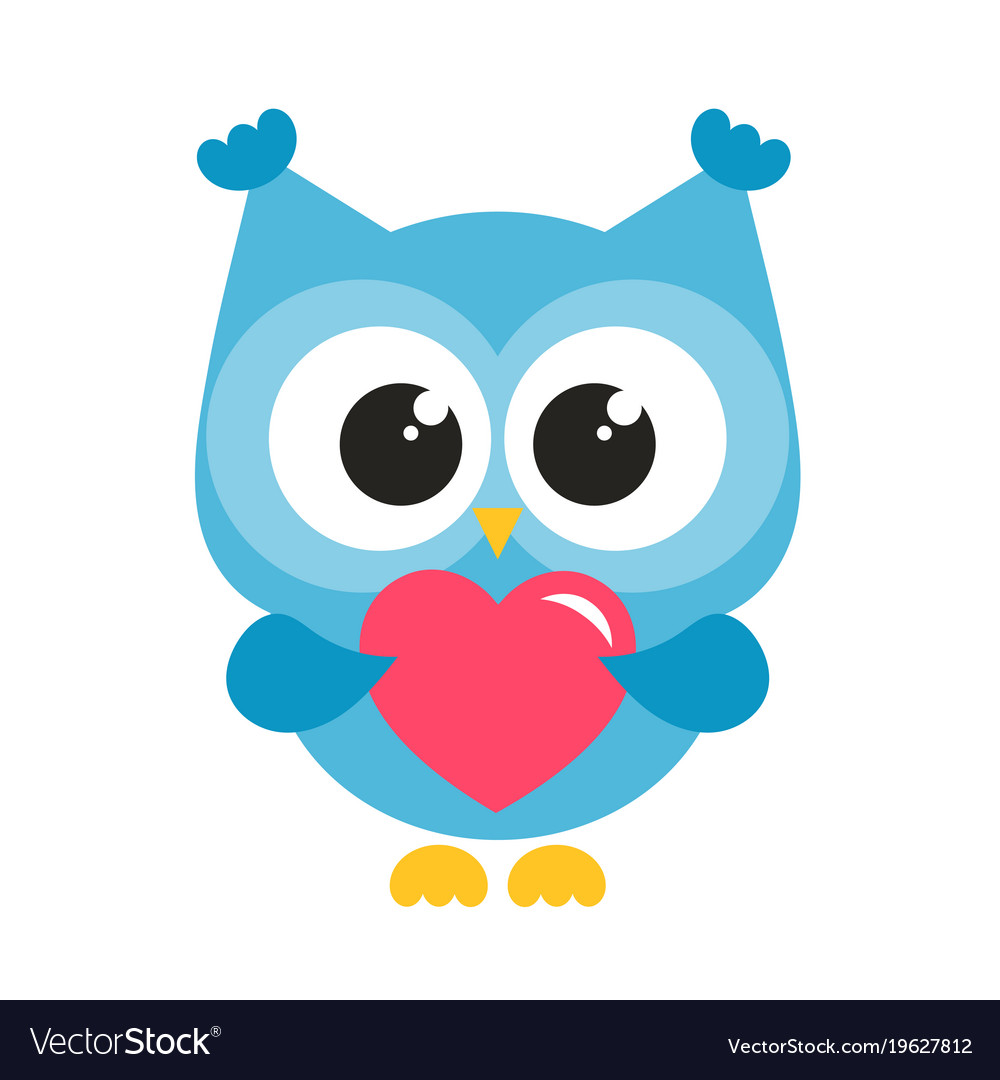 cute blue owl with heart royalty free vector image rh vectorstock com blue and grey owl clip art blue and grey owl clip art