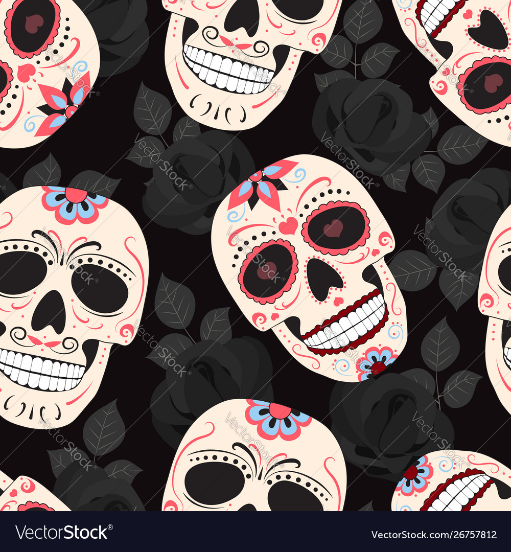 Day dead skull with floral ornament and
