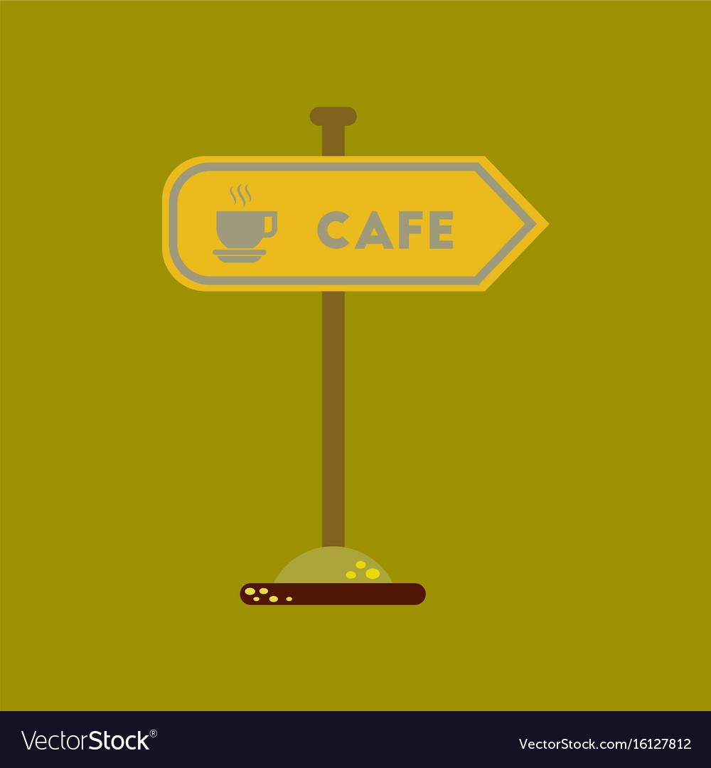Flat icon on background cafe sign