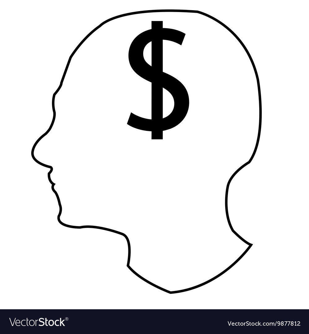 Head and money vector image