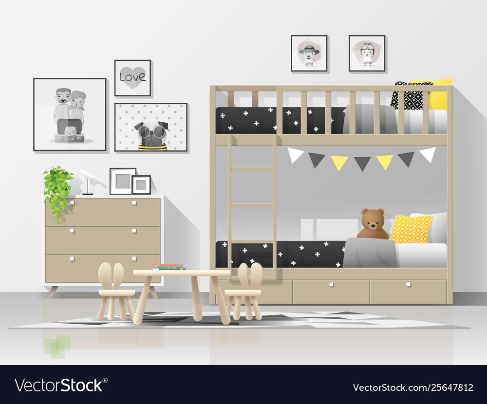 . Interior background modern kids bedroom