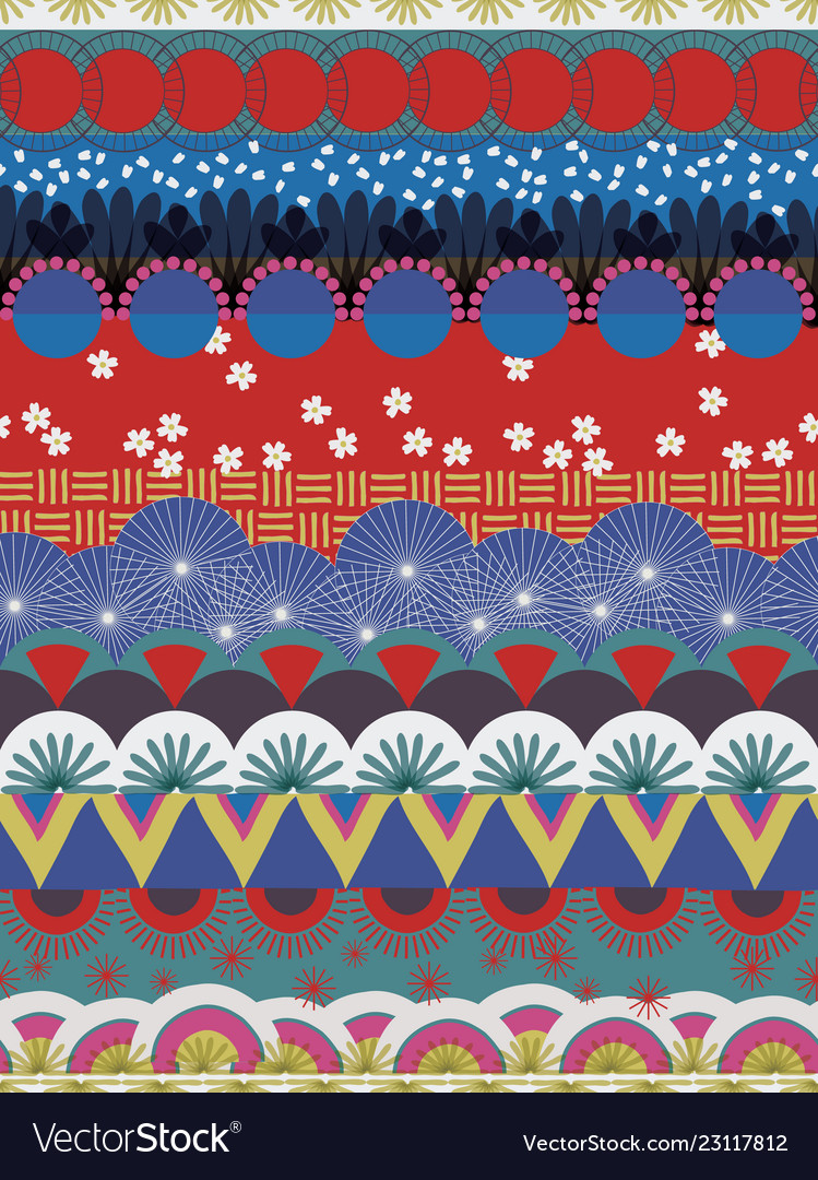 Japanese tribal pattern red blue white teal