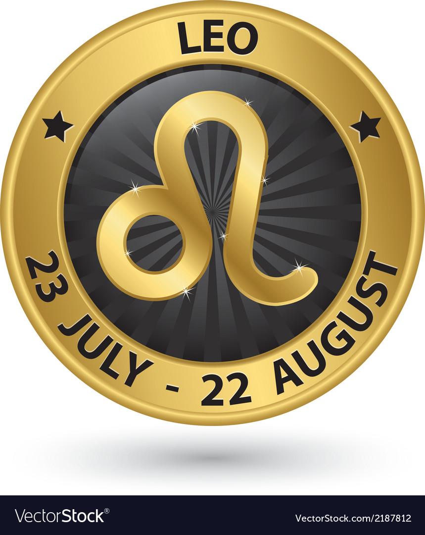 Leo Zodiac Gold Sign Leo Symbol Royalty Free Vector Image
