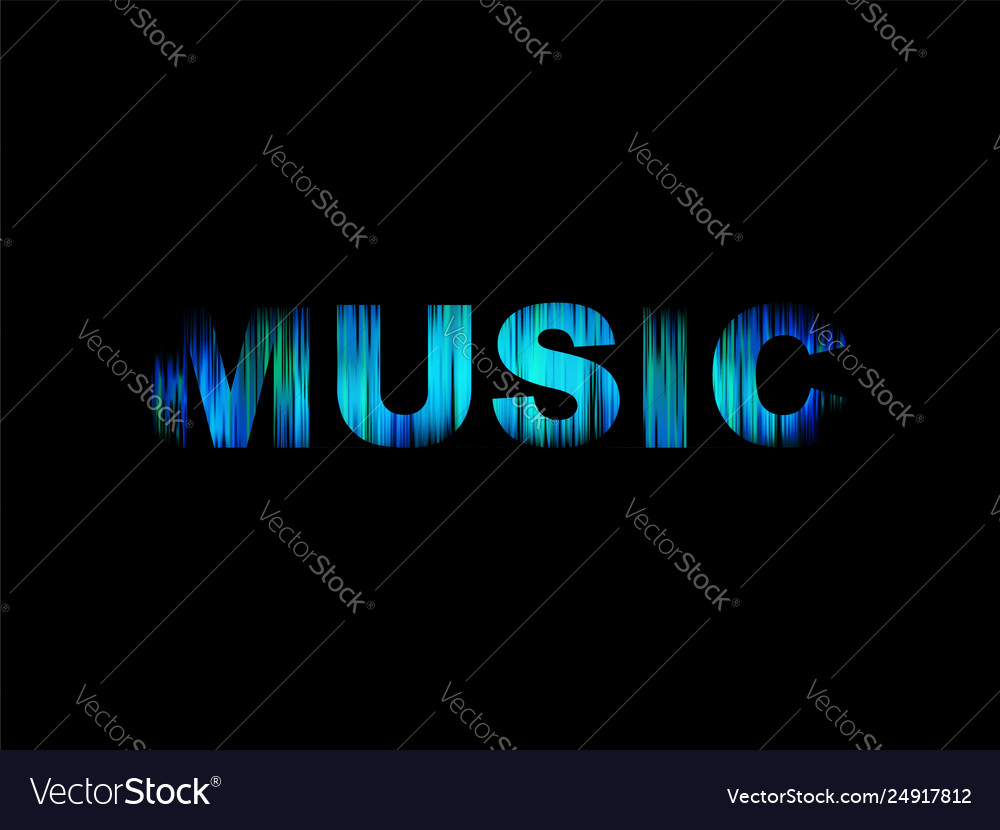Music logo abstract color word art