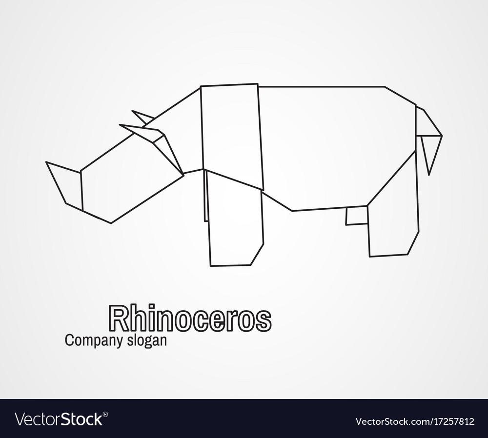 Origami logo contour rhinoceros