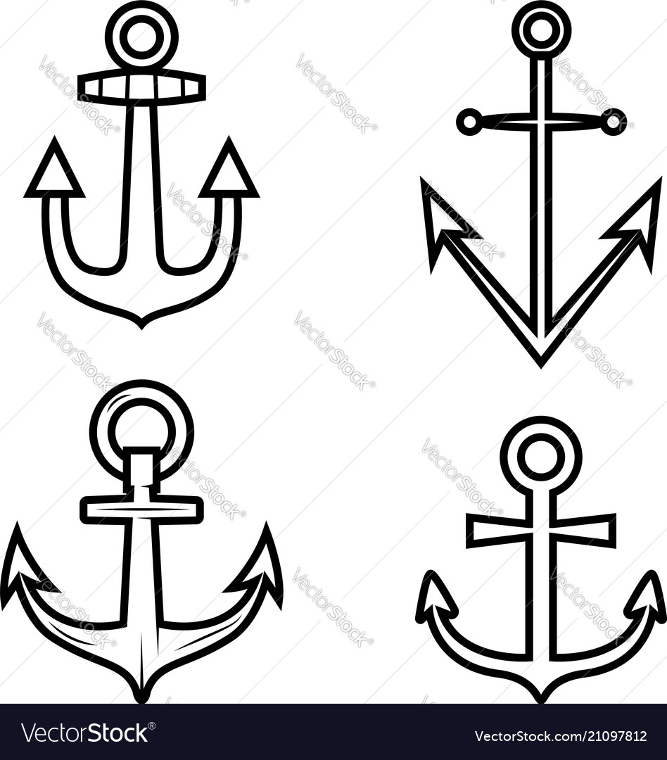 Set of anchor icons design element for logo label