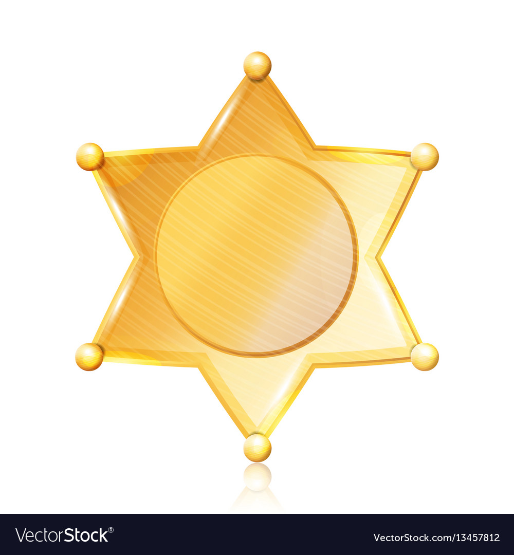 Sheriff Badge Star Gold Symbol Municipal Vector Image