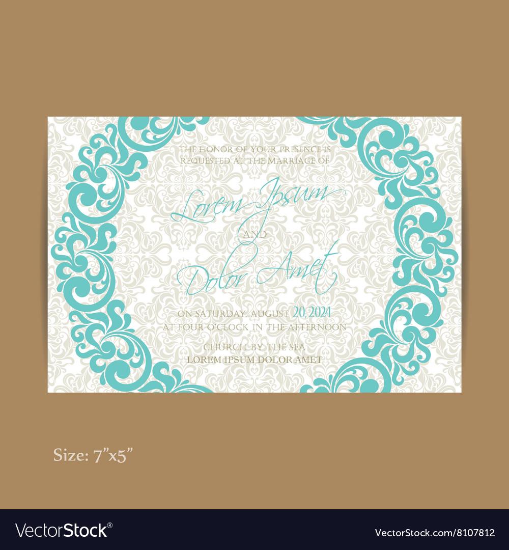 Wedding vintage invitation blue