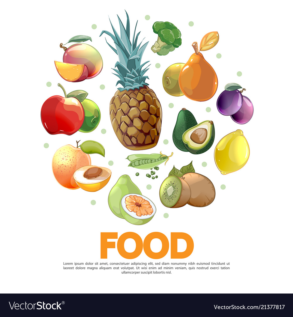 Cartoon fruits and vegetables concept