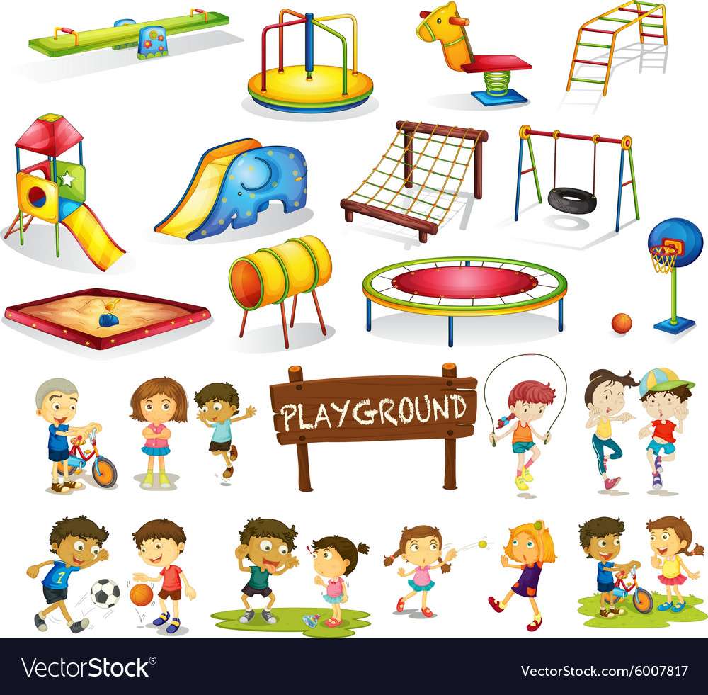 Children playing and playground set vector image