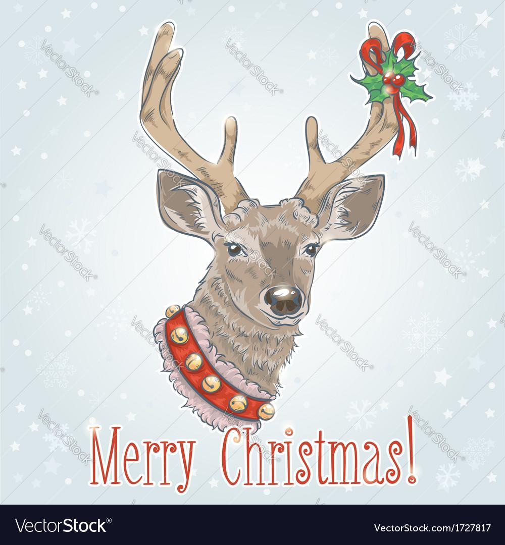Christmas vintage postcard with Santa deer