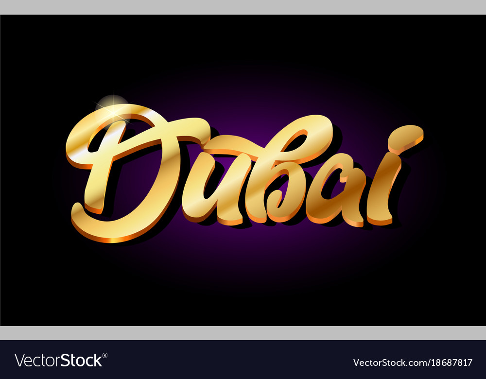 Dubai 3d gold golden text metal logo icon design