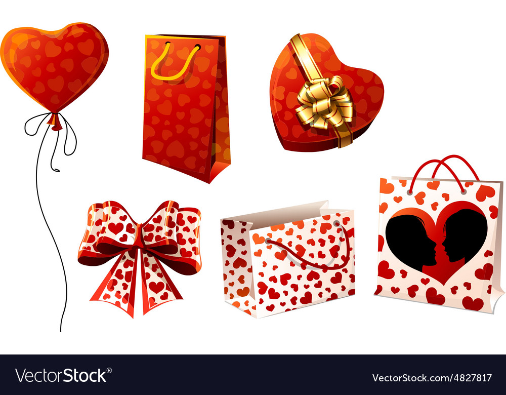 Gifts boxes packages and bows vector image