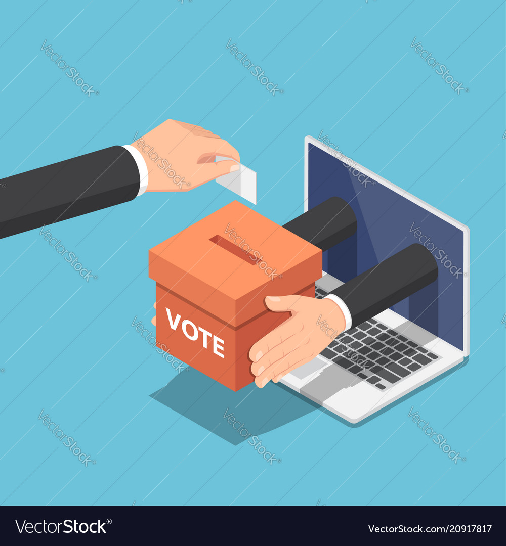 Isometric businessman hand putting voting paper