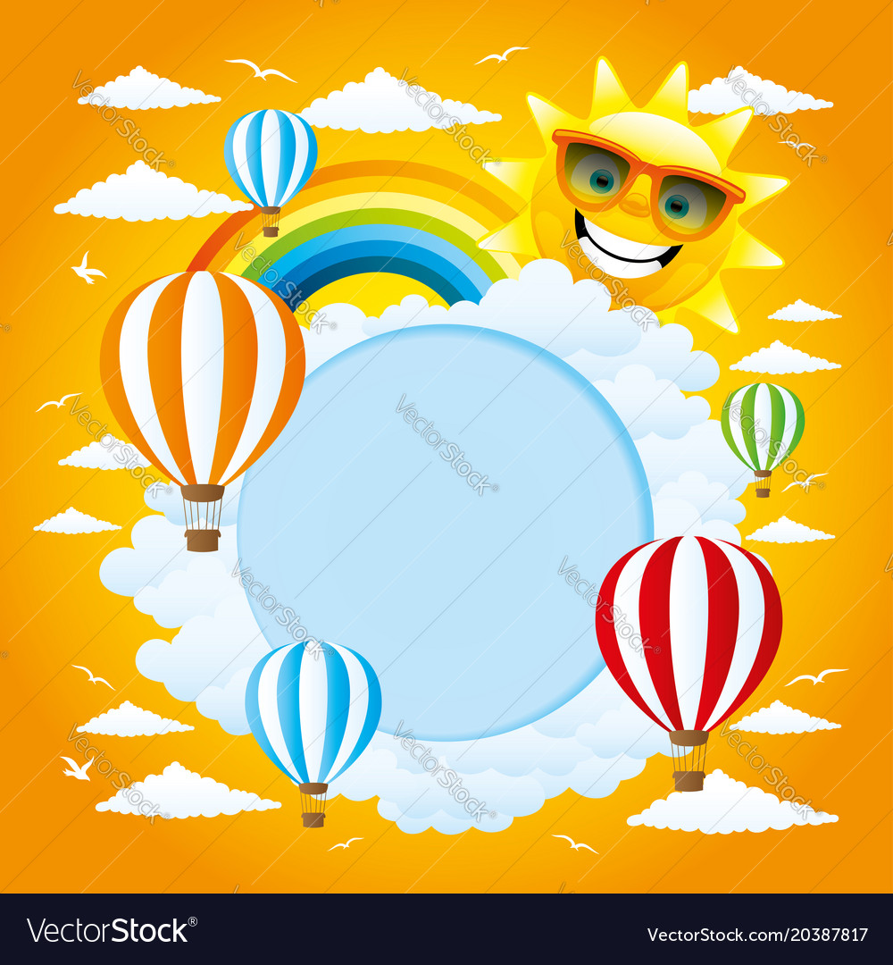 Round frame with a rainbow and sun Royalty Free Vector Image