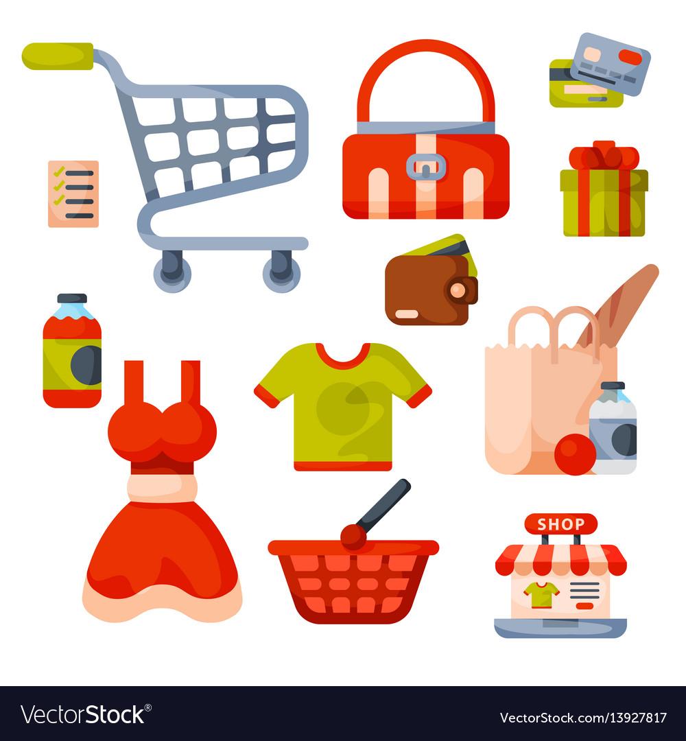 Supermarket grocery shopping retro cartoon icons