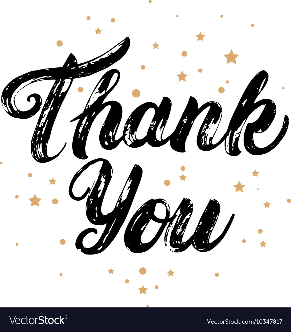 Thank you card with gold stars background