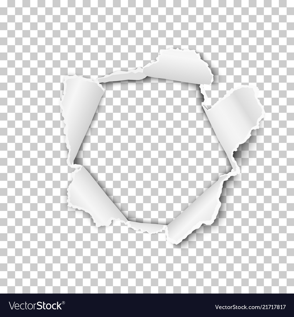 torn hole in the transparent sheet of paper vector image