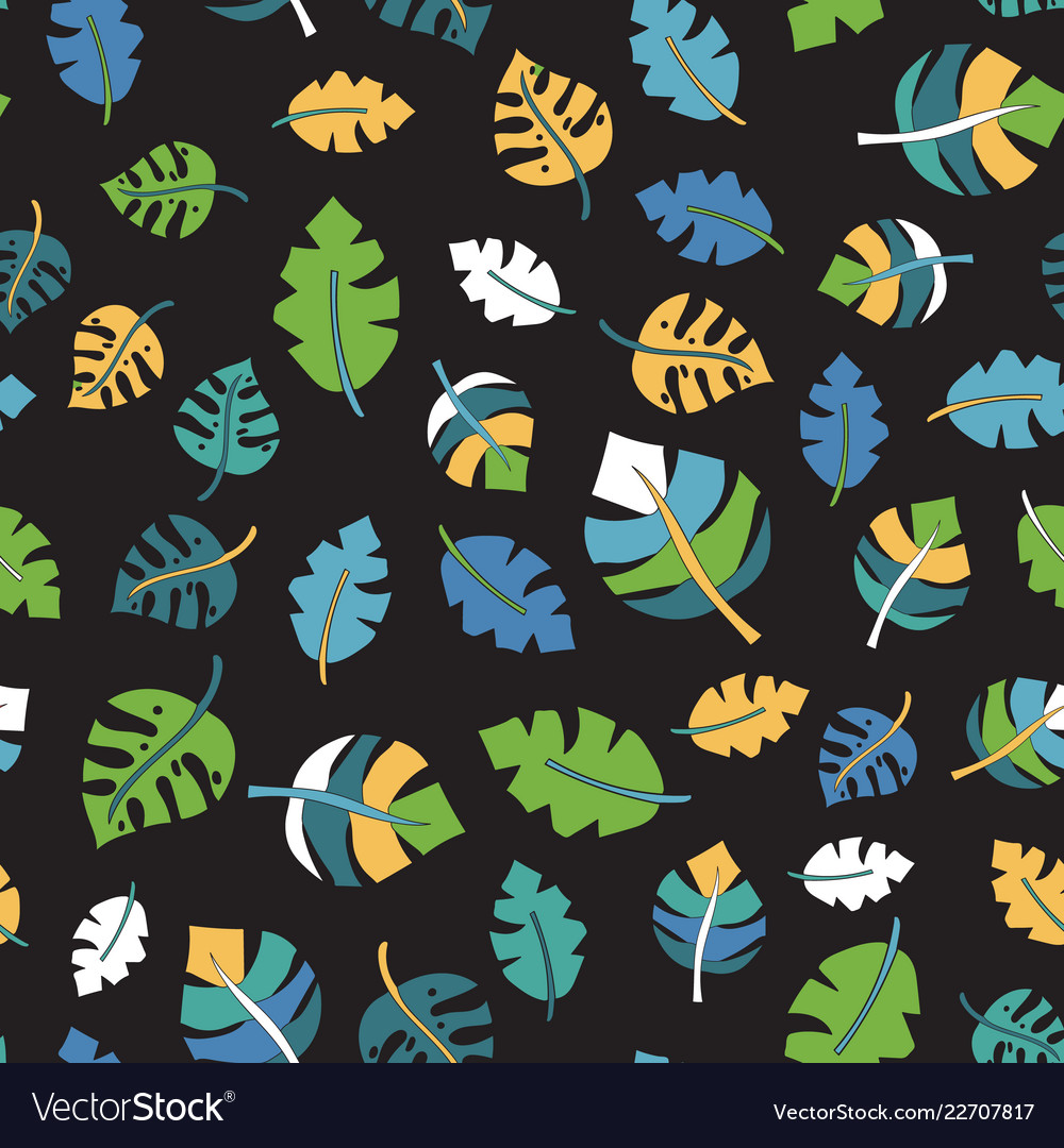 Tropical leaf seamless pattern black